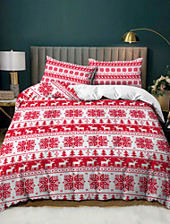 cheap -Christmas Elk Strip Printed 3-Piece Duvet Cover Set Hotel Bedding Sets Comforter Cover with Soft Lightweight Microfiber, Include 1 Duvet Cover, 2 Pillowcases for Double/Queen/King(1 Pillowcase for Twin/Single)