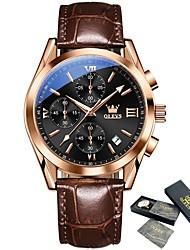 cheap -OLEVS New Men's Brand Brown Leather Watch Top Classic Luxury Waterproof Quartz Clock Sports Calendar Watch Reloj de hombre 2872