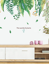 cheap -small fresh tropical green plants leaves flowers bedroom porch home decoration wall stickers self-adhesive