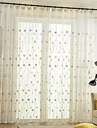 cheap -Window Curtain Window Treatments Semi Sheer Pink 2 Panels Sheer Voile Grommet Boho/ Bohemian for Living Room Bedroom