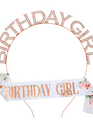 cheap -1 Piece Alloy Rhinestone Birthday Headband Shoulder Strap Set BIRTHDAY GIRL Birthday Girl Crown Etiquette Belt