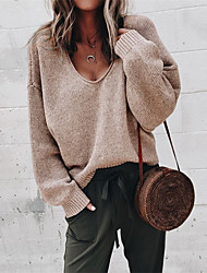 cheap -Women's Pullover Sweater Jumper Knitted Solid Color Stylish Basic Casual Long Sleeve Regular Fit Sweater Cardigans V Neck Fall Winter Purple Yellow Gray / Holiday