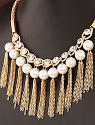 cheap -Choker Necklace Collar Necklace Women's Tassel Fringe Imitation Pearl Zircon Precious Fashion Lovely Wedding Gold 50 cm Necklace Jewelry 1pc for Christmas Wedding Gift Holiday Festival Geometric