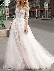 cheap -A-Line Wedding Dresses V Neck Sweep / Brush Train Lace Tulle Long Sleeve Romantic Luxurious with Appliques 2021