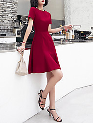 cheap -A-Line Minimalist Elegant Homecoming Cocktail Party Dress Jewel Neck Short Sleeve Short / Mini Stretch Fabric with Sleek 2021