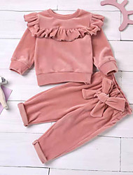 cheap -2 Pieces Baby Girls' Hoodie & Pants Clothing Set Fashion Casual Daily Casual Daily Cotton Blushing Pink White Solid Color Ruffle Bow Long Sleeve Regular / Fall / Winter