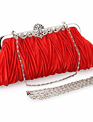 cheap -Women's Bags Polyester Alloy Evening Bag Buttons Solid Color Vintage Party / Evening Daily Evening Bag Red