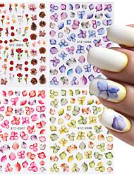 cheap -4 Pcs Elegant Flowers Leaf Nail Stickers Set Stripe Heart Anime Slider 3D Mixed Design Nail Art Decoration Tools for Manicure