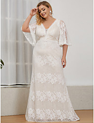 cheap -A-Line Wedding Dresses Plunging Neck Floor Length Lace Short Sleeve Romantic with Lace Insert 2021