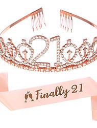 cheap -1 Piece Crystal Crown Headband 21st Birthday Headdress INALLY 21 Belt Etiquette Belt Party Supplies