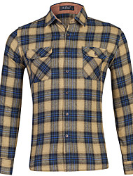 cheap -Men's Shirt Plaid Button-Down Print Long Sleeve Home Regular Fit Tops Casual Fashion Breathable Comfortable Yellow