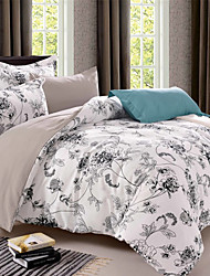 cheap -Floral Printed 3-Piece  Duvet Cover Set Hotel Bedding Sets Comforter Cover, Include 1 Duvet Cover, 2 Pillowcases for Queen/King(1 Pillowcase for Twin)