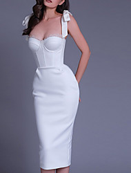 cheap -Sheath / Column Wedding Dresses Scoop Neck Knee Length Stretch Fabric Sleeveless Simple Sexy Little White Dress with Bow(s) 2021