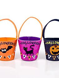 cheap -2pcs Halloween Decorative Fabric Felt Halloween Trick Or Treat Candy Storage Bag Childrens Candy Basket