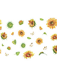 cheap -painted sunflower flower leaf bedroom porch wall beautification decorative wall sticker self-adhesive