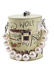 cheap -Women's Mini Lipstistck Bags PU Leather Evening Bag Pearl Bear Wedding Party Purple Yellow Green White