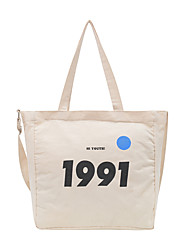 cheap -Women's Bags Canvas Tote Zipper Solid Color Daily Canvas Bag White