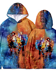 cheap -Inspired by Naruto Portgas D. Ace Hoodie Anime 100% Polyester Anime 3D Harajuku Graphic Hoodie For Men's / Women's / Couple's