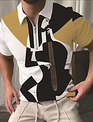 cheap -Men's Golf Shirt Portrait Musical Instrument Zipper Print Short Sleeve Street Tops Sportswear Casual Fashion Breathable Black
