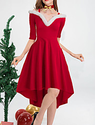 cheap -Women's A Line Dress Knee Length Dress Red Sleeveless Solid Color Plus High Low Fall Winter V Neck Elegant Vintage Sexy Christmas 2021 S M L XL XXL
