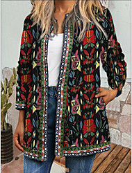 cheap -amazon wish autumn and winter new ethnic style retro printing long-sleeved jacket cardigan jacket european and american women's new products