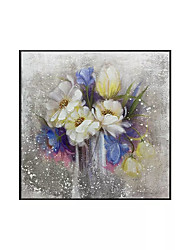 cheap -Oil Painting Handmade Hand Painted Wall Art Square Modern Abstract Floral / Botanical Home Decoration Decor Rolled Canvas No Frame Unstretched