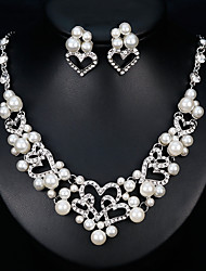cheap -Women's Bridal Jewelry Sets Geometrical Heart Fashion Imitation Pearl Silver Plated Earrings Jewelry White For Christmas Party Wedding Gift Festival 1 set