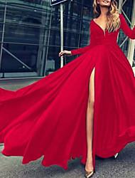 cheap -Women's Swing Dress Maxi long Dress Green Black Red Long Sleeve Solid Color Split Fall Summer V Neck Elegant Sexy Regular Fit 2021 S M L XL XXL / Party Dress