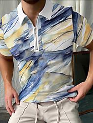 cheap -Men's Golf Shirt Rendering Zipper Print Short Sleeve Street Tops Sportswear Casual Fashion Breathable Blue