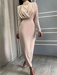 cheap -Women's Sheath Dress Maxi long Dress Blue Red Beige Long Sleeve Solid Color Ruched Patchwork Fall Winter Turtleneck Elegant Casual Regular Fit 2021 S M L / Party / Holiday