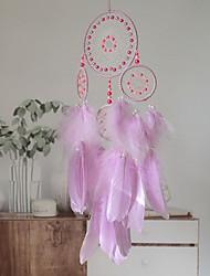 cheap -Boho Dream Catcher Handmade Gift Wall Hanging Decor Art Ornament Crafts Circle Feather For Kids Bedroom Wedding Festival 23*60cm