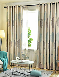 cheap -Window Curtain Window Treatments Grey Nordic Maple Leaf 1 Panels Room Darkening Grommet Rod Pocket Solid For Living Room Bed Room