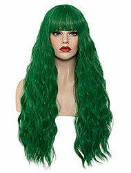 """cheap -halloweencostumes 28"""" Long Wavy Curly Wig Dark Green Wigs for Women Natural Cosplay Halloween Wigs Heat Resistant Fun Party Wig Include Wig Cap (Z#Dark Green, 28 Inch)"""