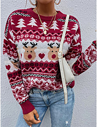 cheap -Women's Pullover Braided Abstract Stylish Casual Long Sleeve Regular Fit Sweater Cardigans Crew Neck Fall Winter Red / Christmas