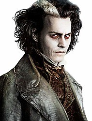 cheap -halloweencostumes Sweeney Todd Cosplay Wigs for Men Short Bob Curly Synthetic Wig White Highlight Black Color Hair Natural Hairline Heat Resistant Fiber Wigs for Boy Halloween Party