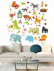 cheap -Cartoon Animals Wall Stickers Living Room Kids Room Kindergarten Removable Pre-pasted PVC Home Decoration Wall Decal 1pc