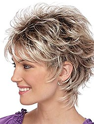 cheap -Wigs for White Women  Short Blonde Mixed Brown Wig with Bangs Fashion Natural Synthetic Hair Wigs with Cap for Party Daily