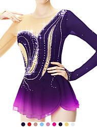 cheap -Figure Skating Dress Women's Girls' Ice Skating Dress Yan pink Violet Yellow & Yellow Spandex Stretch Yarn High Elasticity Skating Wear Handmade Fashion Long Sleeve Ice Skating Winter Sports Figure
