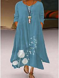 cheap -Women's Plus Size Dress Swing Dress Maxi long Dress Long Sleeve Floral Casual Fall Winter Spring Photo Color L XL XXL XXXL 4XL