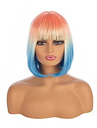 cheap -ombre bob wig with air bangs short straight wig natural hair end wig 3 tone colorful wig cosplay halloween wig for women's costume wigs(14 inches)