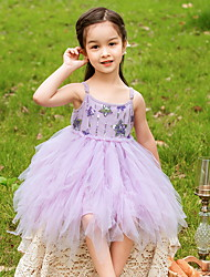 cheap -Princess Knee Length Flower Girl Dresses Party Polyester Sleeveless Spaghetti Strap with Lace