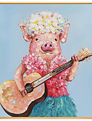 cheap -Oil Painting Handmade Hand Painted Wall Art Square Abstract Play The Guitar Cute Piggy Animal Home Decoration Decor Rolled Canvas No Frame Unstretched