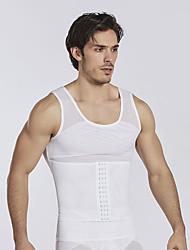 cheap -men slimming body shaper vest gynecomastia shirt tank top compression shirt shapewear (l chest 48-55inch, white)