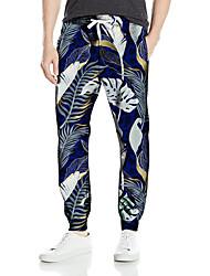 cheap -Men's Casual Fashion Breathable Sports Pants Sweatpants Casual Daily Pants Leaf Full Length Elastic Drawstring Design Print Blue