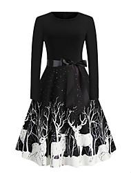 cheap -Women's A Line Dress Knee Length Dress Wine Green Black Long Sleeve Animal Print Fall Winter Round Neck Casual Christmas Regular Fit 2021 S M L XL XXL 3XL