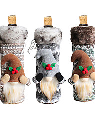 cheap -Christmas Wine Bottle Cover Faceless Doll Red Wine Packaging Bag Long Hair Christmas Wine Cover Table Decoration