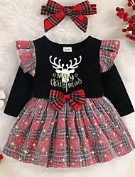 cheap -Baby Girls' Christmas Dress Cute Sweet Christmas Festival Cotton Red Deer Line Plaid Letter Animal Mesh Print Long Sleeve Knee-length / Fall / Spring