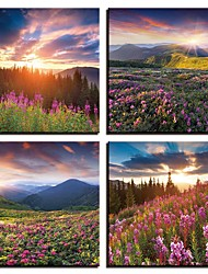 cheap -4 Panels Wall Art Canvas Prints Painting Artwork Picture Flower Lavender Painting Home Decoration Decor Rolled Canvas No Frame Unframed Unstretched