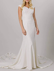 cheap -Mermaid / Trumpet Wedding Dresses V Neck Court Train Lace Stretch Fabric Cap Sleeve Romantic with Appliques 2021