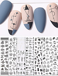 cheap -7PCS Sexy Lady Shaped 3D Nail Stickers Character Face Image Leaves Flower Decals Slider Black White DIY Nail Art Decorarion